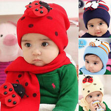 New Children Baby Winter Warm Ladybug LadyBird Hat Caps + Scarf Suit Cute BHTM