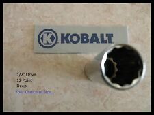 "NEW... KOBALT 1/2"" Drive SAE - DEEP SOCKET 12-pt - Point - ANY SIZE - Inch in"