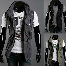 SEXY Korea Military Men's Stylish Slim Fit Casual Coats Vests Sleeveless Hoodie