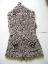 women's real rabbit fur and wool line  knitted 4 color vest/coat