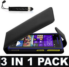 LEATHER FLIP CASE COVER FOR HTC 8S + FREE SCREEN PROTECTOR & MINI STYLUS PEN