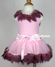 Light Pink Peacock Feather Baby Pettiskirt Skirt Feather Pink Top Set 3-24Month
