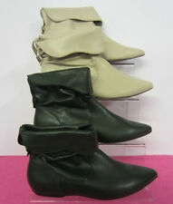 LADIES SPOT ON-ANKLE BOOTS-FLATS-CREAM-GREEN-ONLY£5.99!!