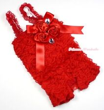 Baby Girls Hot Red Lace Rose Petti Posh Romper Rosettes Crystal Romper NB-3Year
