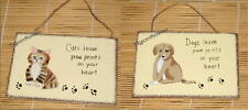 Wood Sign Country Magnet Cat Dog Leave Paw Prints On Your Heart Buy 2 get 1 FREE