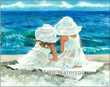 "CHILDREN GIRLS ""Beach Buddies"" Watercolor Painting Art Print Giclee JUDITH STEIN"
