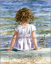 "BEACH GIRL ""Bird Watcher"" Watercolor Painting Art Print Giclee JUDITH STEIN"