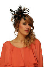 Black & Nude Taupe Fascinator Wedding Hat Choose any colour satin & feathers