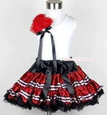 Black Red Plaid FULL Pettiskirt with Bunch Of Hot Red Rosette White Top Set 1-8Y