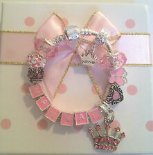 Personalised girls Princess charm bracelet METAL LETTERS many sizes