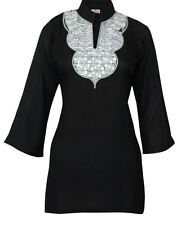 Ladies Indian Embroidered Long Sleeve Kurta-Kurti Tops Black KL330406