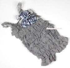 Baby Girls Grey Lace Rose Petti Posh Romper Rosettes Crystal Romper NB-3Year