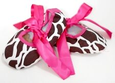 Infant Newborn Baby Girl Hot Pink Giraffe Print Crib Shoes wif Ribbon NB-18Month