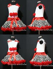 Red Zebra Pettiskirt Tutu Dress White Pettitop Top Red Birthday Cupcake Set 1-8Y
