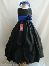BLACK ROYAL BLUE TURQUOISE SAGE GREEN RECITAL FLOWER GIRL DRESS 2 4 6 8 10 12 14