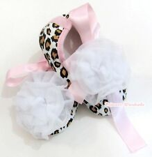 Infant Baby Girl Light Pink Ribbon Leopard Print Crib Shoes White Rose 0-18Month