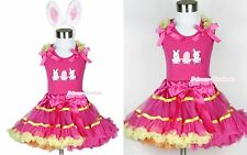 Hot Pink Yellow Rainbow Pettiskirt Easter EGG & Rabbit Hot Pink Top EAR Set 1-8Y