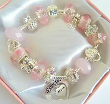LADIES/GIRLS CHARM BRACELETS TO PERSONALISE  MOTHERS DAY/BIRTHDAY/XMAS GIFT BOX