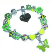 CHILDRENS/GIRLS PERSONALISED NAME or INITIAL CHARM BRACELET YELLOW/GREEN BEES