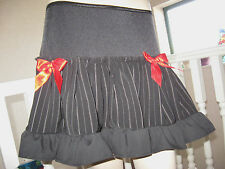 NEW Black,white,Red Pinstriped Frilly Skirt.goth,rock,punk,lolita,All sizes