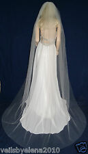 "Wedding Veil Chapel Single Tier 108"" Width 90"" length Cut Edge 19 Colors"