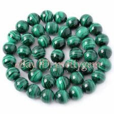 4,5,6,7,8.9.5,11,13MM ROUND SMOOTH NATURAL MALACHITE GEMSTONE BEADS STRAND 15""
