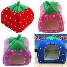 Warm Soft Strawberry Shape Sponge Cotton Cat Dog Pet Kennel Bed House Sz S/M/L