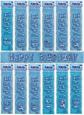 BLUE GLITZ - PRISMATIC 12 FOOT LONG BANNER (Birthday Party Decorations)
