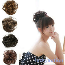 Fake Hair Extension Bride Bun Hairpiece Scrunchie Wavy Hair Pony Tail 4 Colors