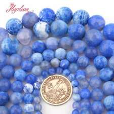 """Round Faceted Cracked Blue Fire Agate Gemstone Loose Beads 15"""" 6mm 8mm 10mm 12mm"""