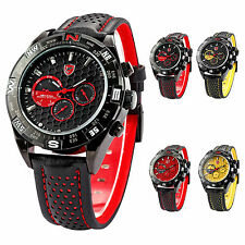 Shark Luxury Men Military Date Day Black Leather Sport Quartz Wrist Watch