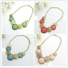 Retro Style Chain Vintage & Colorful Resin Round Beads Pendant Necklace A1358