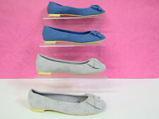 GIRLS CUTIE CANVAS BALLERINA SHOES IN BLUE & LILAC STYLE H2225