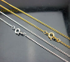 Pick Size & Lots w/ Clasp Gold/Silver Plt Curb Chain Necklace/Chain Finding .#YK
