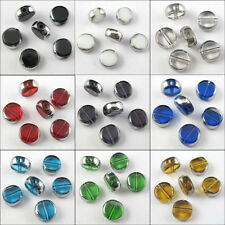 6mm 8mm 10mm Silver Edge Glass Round Spacer Beads Charms For Jewelry Craft DIY