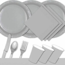 Silver Tableware Party Table Cover Napkins Cups Party Cutlery Plates PS
