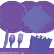 Purple Tableware Party Table Cover Napkins Cups Wedding Cutlery Plates PS