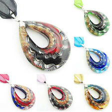 Gold Silver Foil Hollow Drop Murano Lampwork Glass Pendant Bail Ribbon Necklace