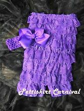 Newborn Baby Girls Purple Lace Petti Rompers Huge Bow Headband 2pc Set