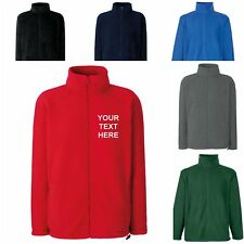 NEW PERSONALISED MENS WOMENS FRUIT OF THE LOOM FULL ZIP JACKET COAT WORK FLEECE