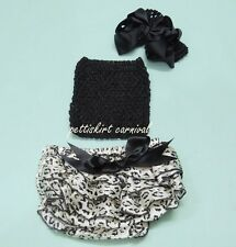 Newborn Baby Black Leopard Bloomers Tube Top Bow Headband 3pcs Outfit 0-24M