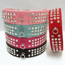Suede Leather Pet Dog Collar Bling 3 Rows Diamante Rhinestone Dog Cat Collar