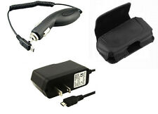 Travel Home Wall + Car Charger + Leather Case Pouch for Net10 NET 10 Phones
