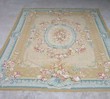Hand-woven Wool French Aubusson Flat Weave Blue Area Rug~New~Free Shipping