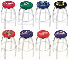 Choose Your NHL Team L8C2C Chrome Single-Ring Swivel Bar Stool w/ Accent Ring