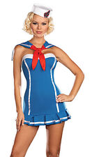 Sexy Pin Up Sailor Skimpy Navy Girl Dress Adult Halloween Costume