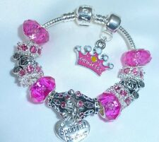 CHILDRENS/GIRLS/KIDS/ PRINCESS PINK & SILVER SPARKLE CHARM BRACELET PERSONALISE
