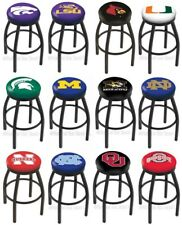 Choose NCAA K-O Team L8B2B Black Single-Ring Swivel Bar Stool w/ Accent Ring