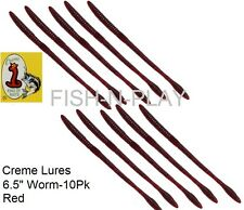 """6.5"""" SOFT PLASTIC WORM 10/PACK CREME LURES 10/PK"""
