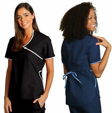 Asian Mandarin Sweetheart Medical Nursing Scrub Top Shirt Uniform NWT 16 COLORS!